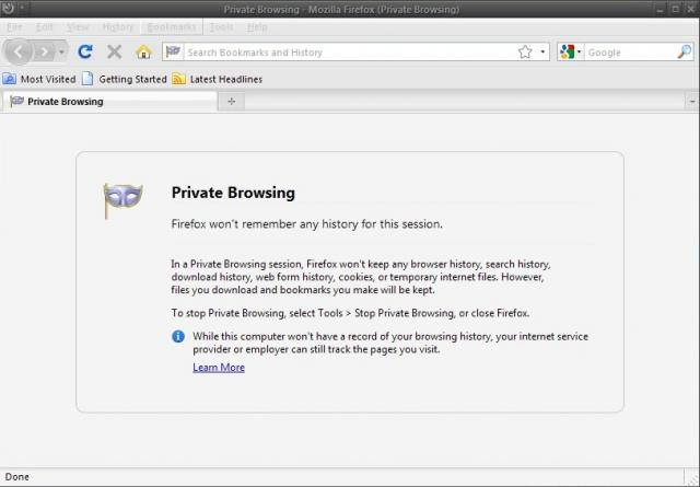 FF 3.5 - Private Browsing On